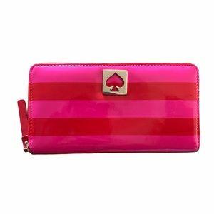 Kate Spade Pink/Red Striped Logo Long Zip Wallet